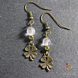boucles d'oreilles trèfle quartz Rose
