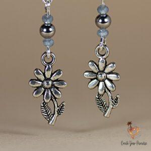 Boucles d'Oreilles Fleur Perle de Verre