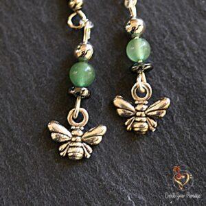 Boucles d'Oreilles Abeille Jade