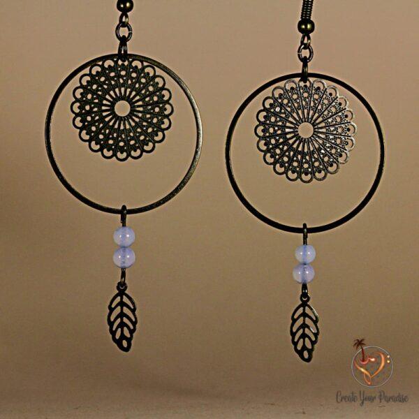 Boucles d'oreilles Mandala Perles de Lune