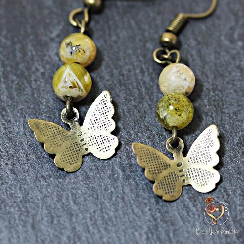 Boucles d'Oreilles Papillon Full Citrine